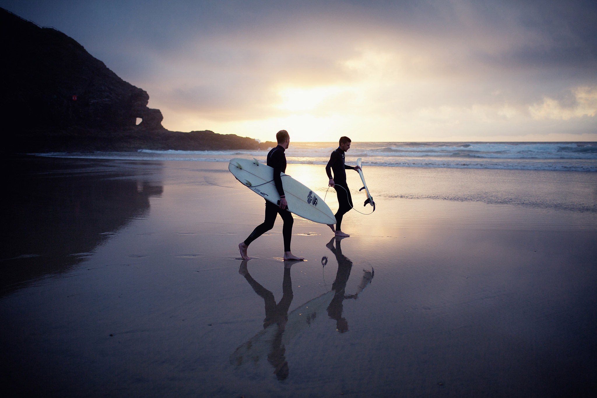 Perranporth Cornwall Surfers at Sunset
