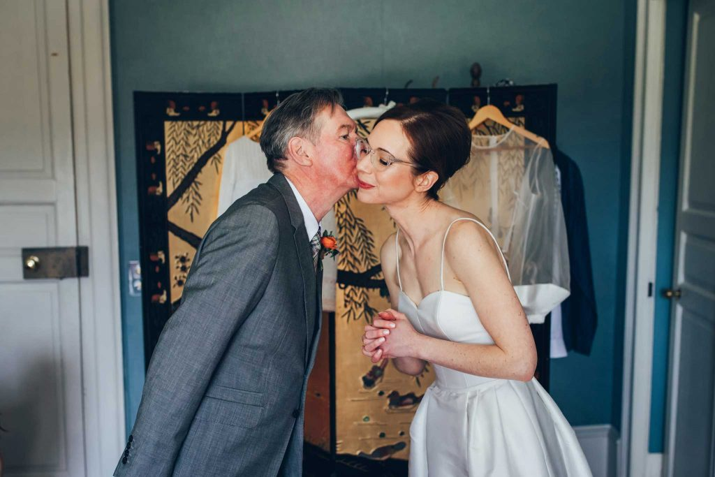 Boconnoc House bride and father