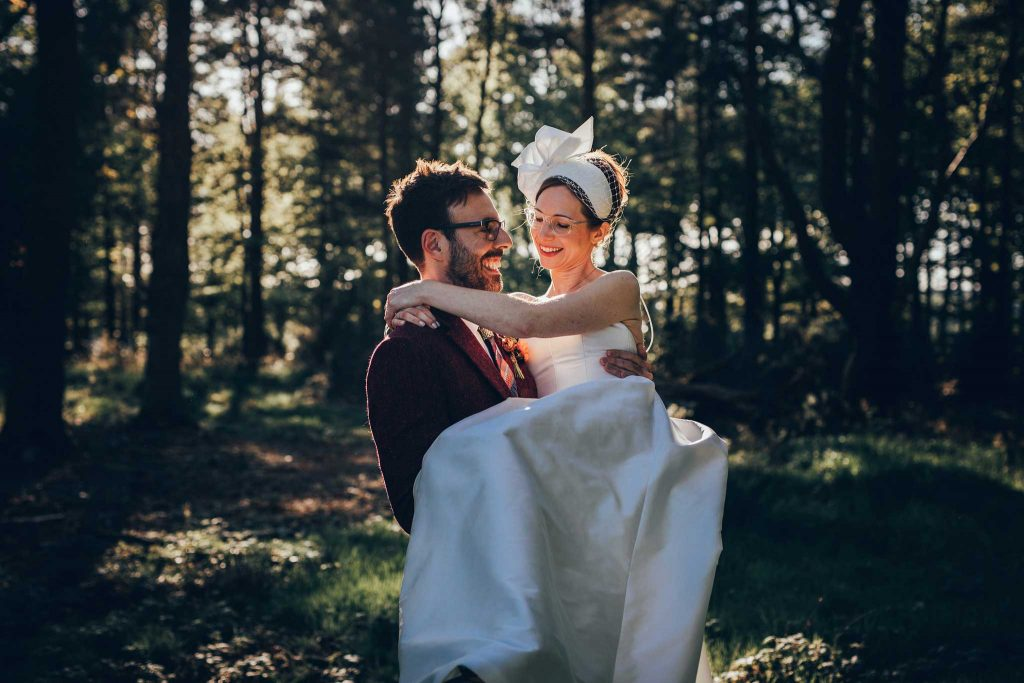 Boconnoc House woodland bride and groom