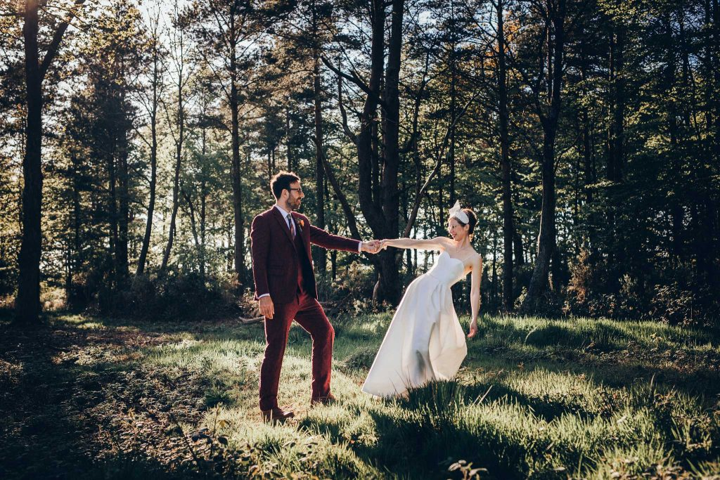 Boconnoc House woodland bride and groom dance