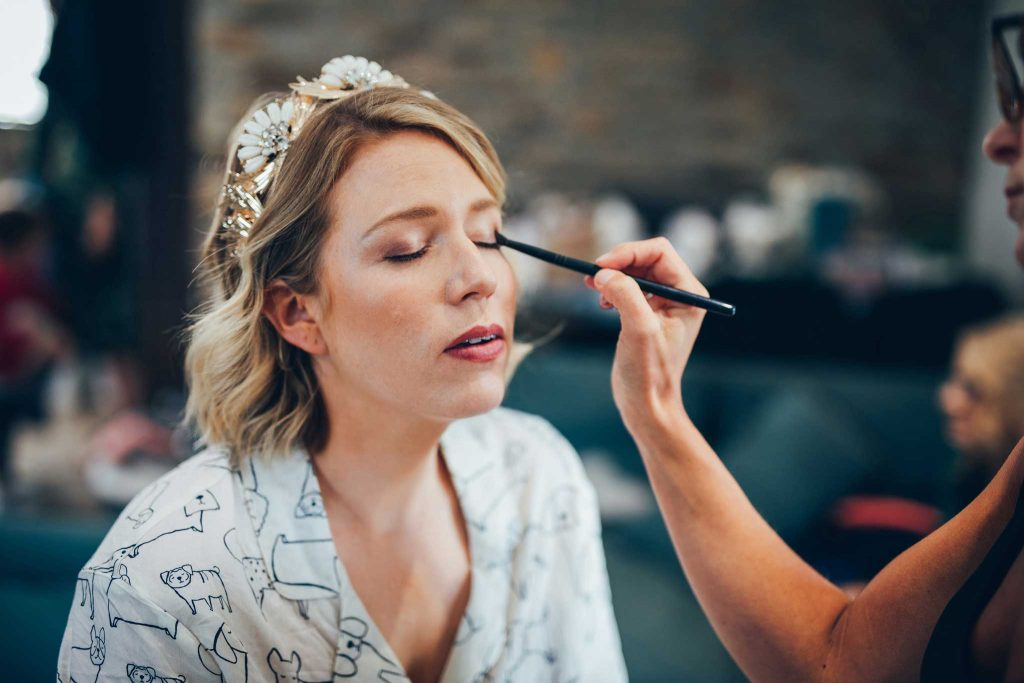 Makeup at a Kilminorth Cottages wedding