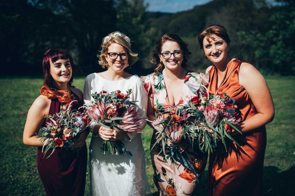 Bride and bridesmaids at Kilminorth Cottages