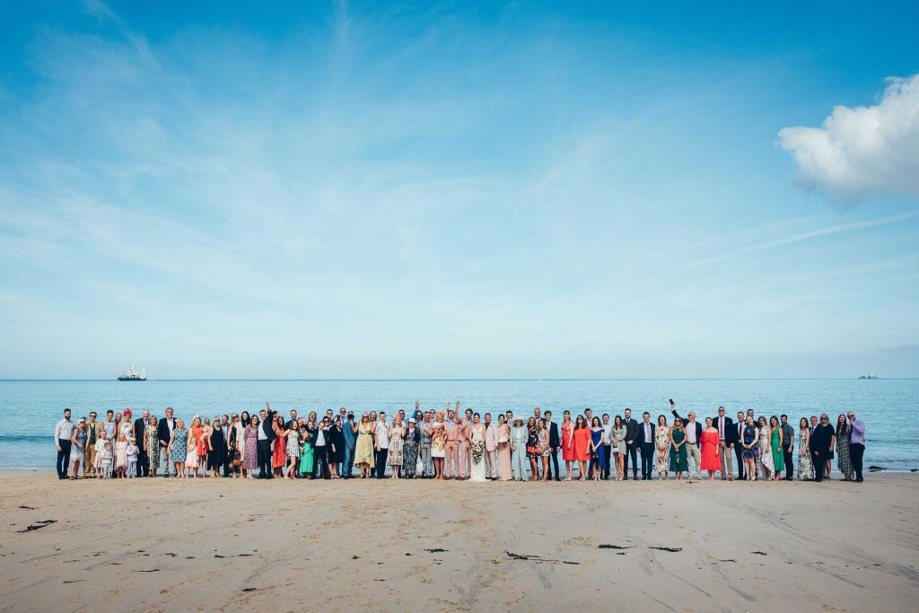 wedding party at Carbis Bay beach