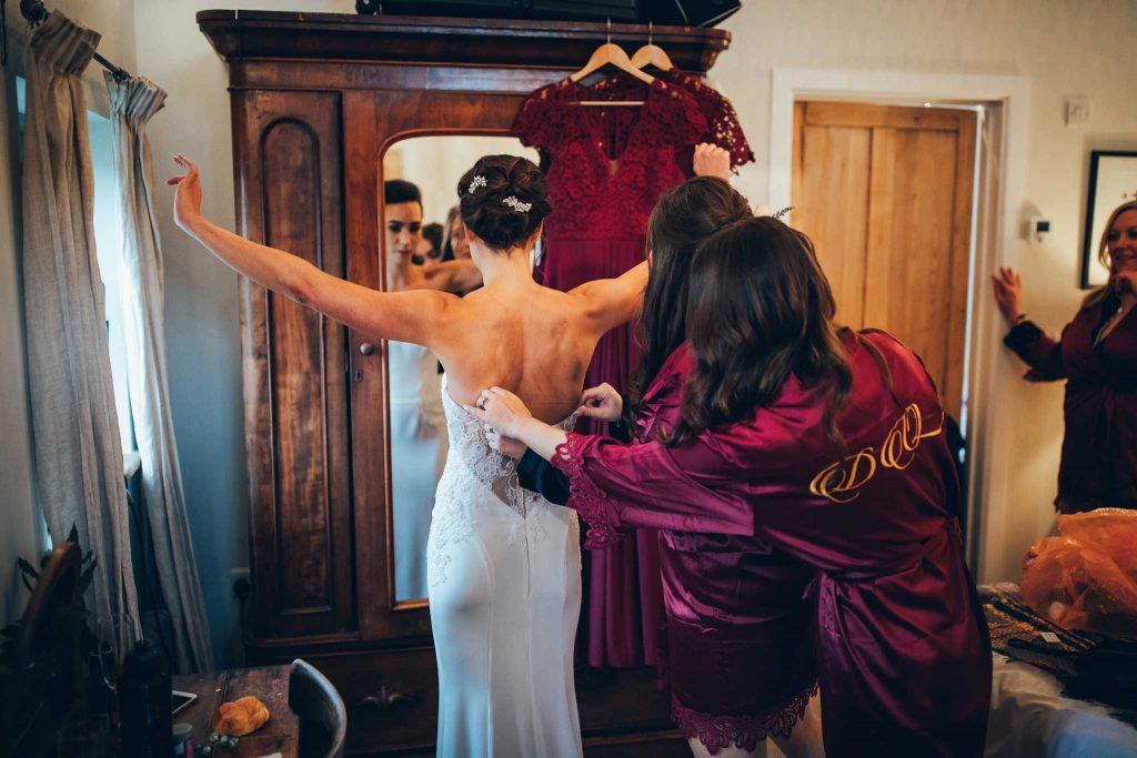 Bride dressing Nancarrow Farm