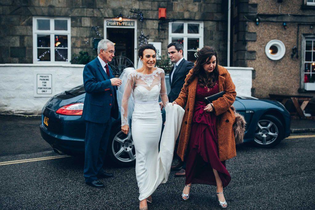 Bride arrives St Agnes